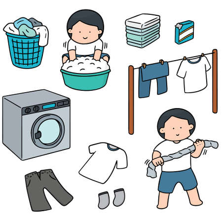 appliance: vector set of people washing clothes Illustration