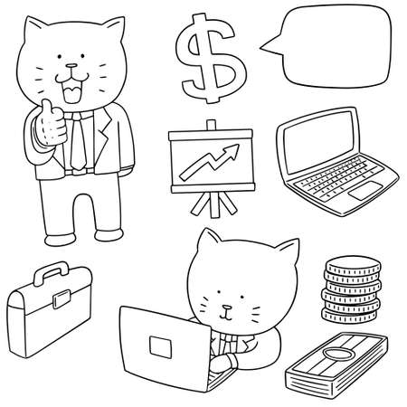 cute cartoon: vector set of cat in business suit and business icon Illustration
