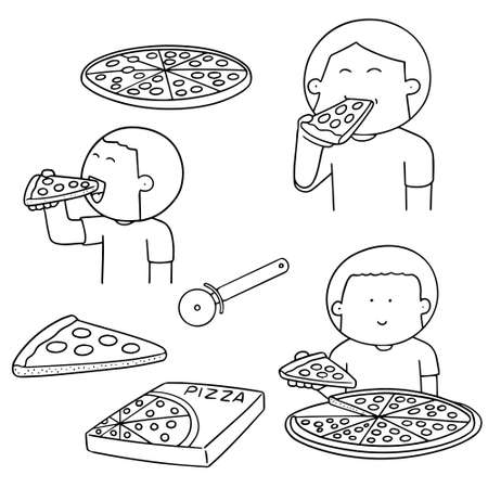 cute guy: vector set of man eating pizza
