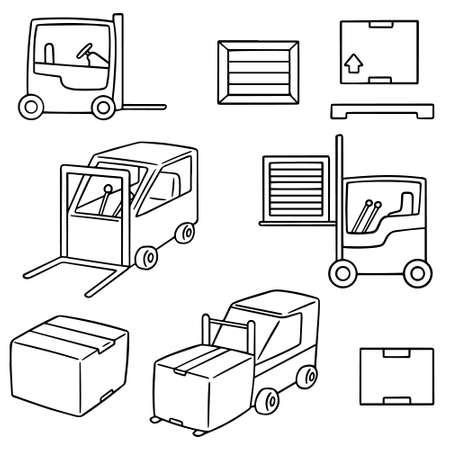 cute cartoon: vector set of forklift truck