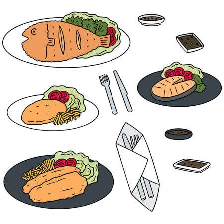 cute cartoon: vector set of fried fish
