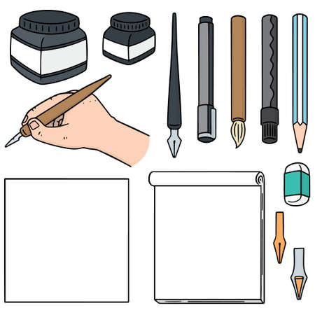 paper note: vector set of stationery