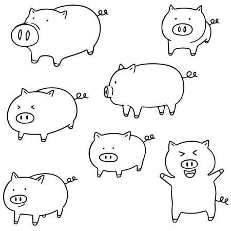 porcine: vector set of pig