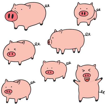 vector set of pig