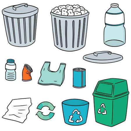 cute cartoon: vector set of recycle garbage