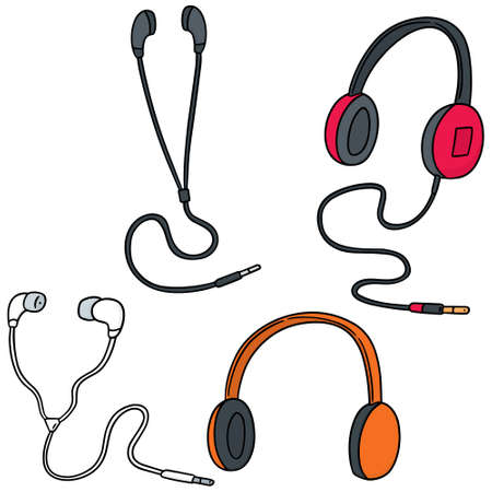 vector set of headphone and earpiece