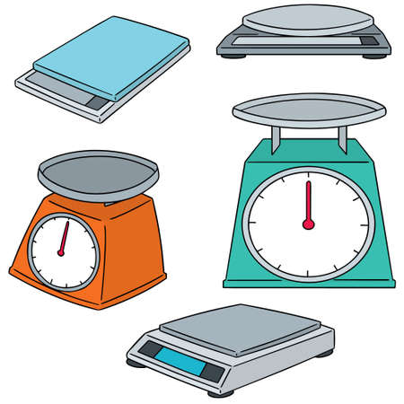 vector set of weighing machine Ilustracja