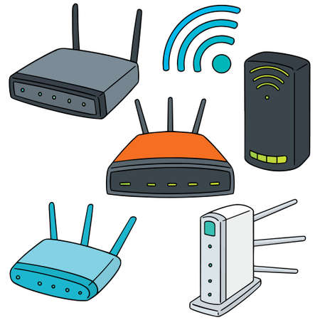 smartphone icon: vector set of wireless router