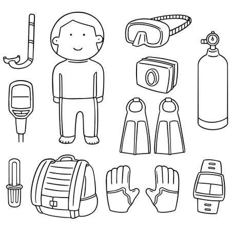 cute guy: vector set of scuba diving equipment Illustration