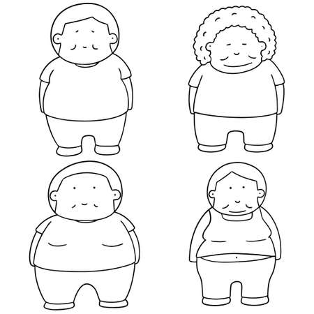 cute guy: vector set of fat people