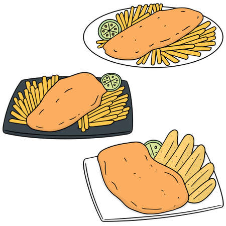 Set of fish and chips icon.