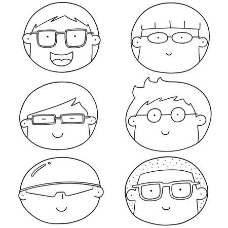 cute guy: vector set of cartoon face with glasses