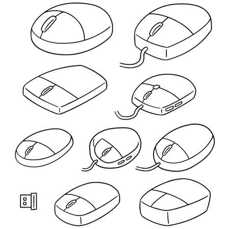 simple: vector set of computer mouse
