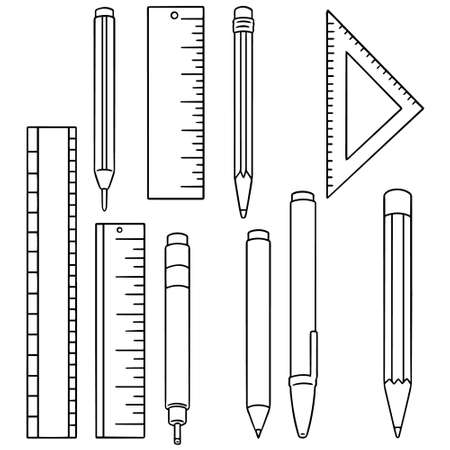 simple: vector set of pen, pencil and ruler