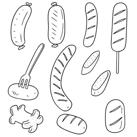 simple: vector set of sausages
