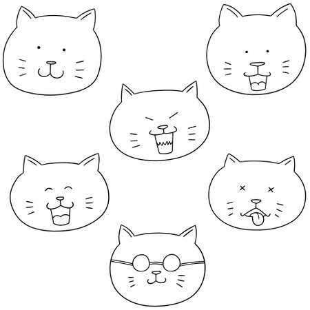 simple: vector set of cat face Illustration