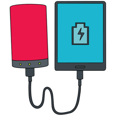 smartphone icon: vector set of smartphone charging via power bank