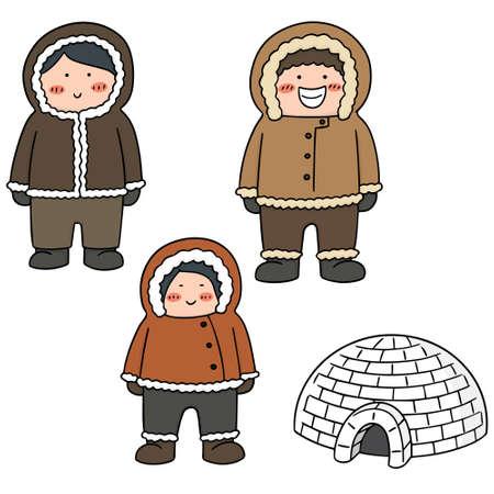 vector set of eskimo Illustration