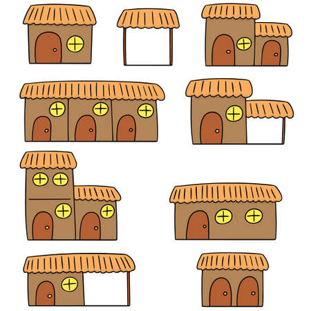 simple: vector set of huts