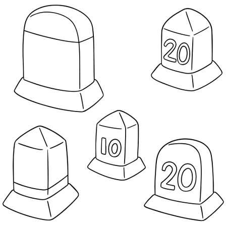 vector set van mijlpaal Stock Illustratie