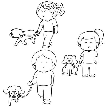 cute cartoon: vector set of people and dog Illustration