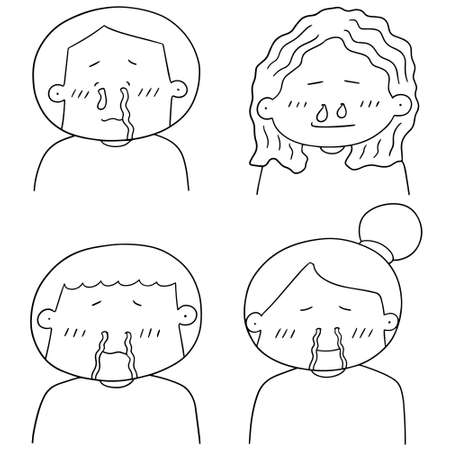vector set of runny nose people
