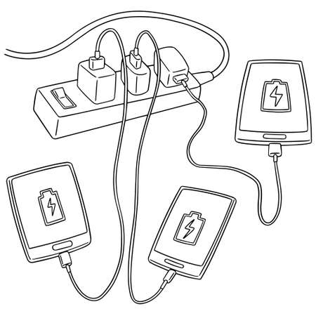 smartphone icon: A vector set of smartphone charging on white background. Illustration