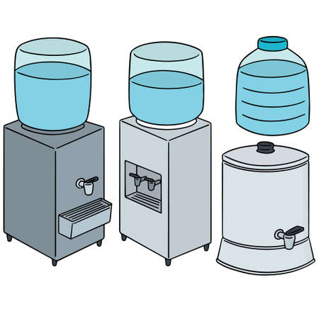 appliance: A vector set of water cooler on white background. Illustration