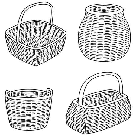 vector set of wicker baskets