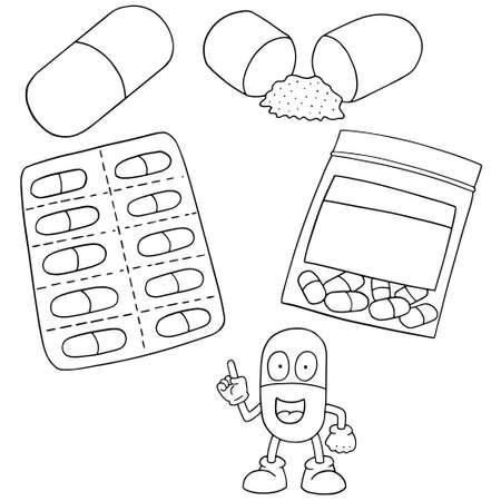 cute cartoon: Set of medicine capsules