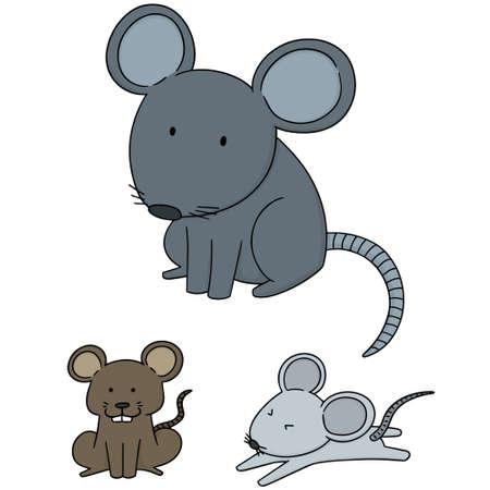 cute cartoon: Set of mice