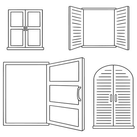 vector set of window Illustration