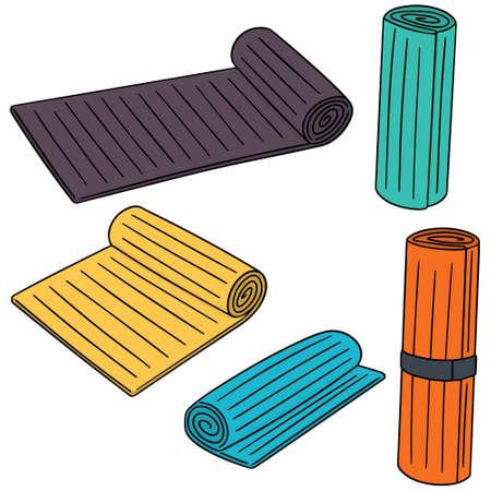 fitness equipment: vector set of yoga mat