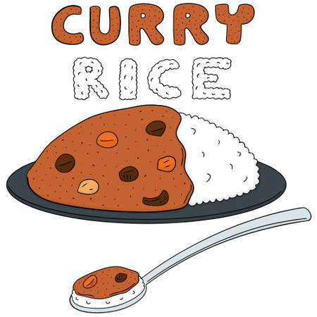 vector set of curry rice