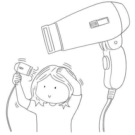 dryer: vector set of hair dryer