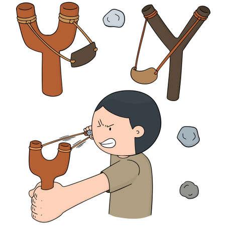 vector set of slingshot Illustration
