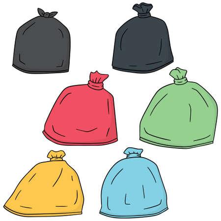 vector set of trash bag Illustration