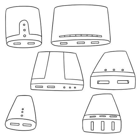 Set of power bank illustration.