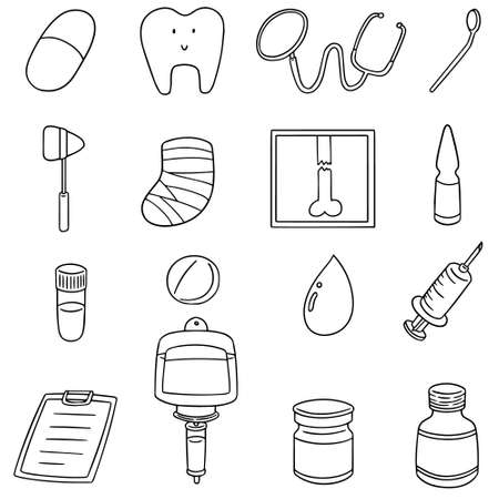 Set of healthcare icon illustration.