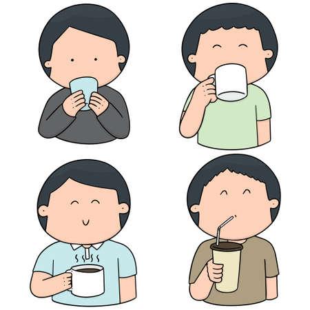 Set of people drinking illustration. Illustration