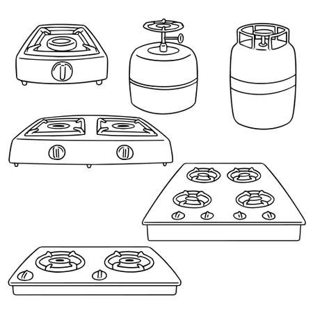 Set of gas stove illustration. Çizim