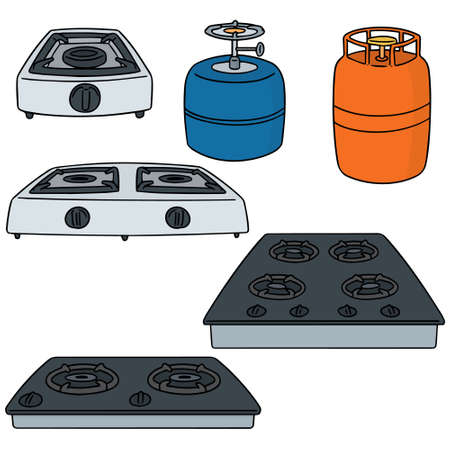 Set of gas stove illustration. Vettoriali