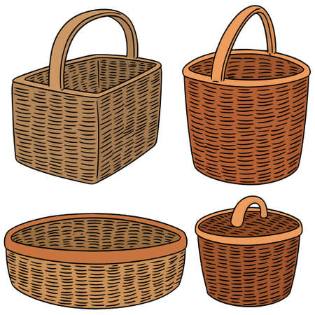vector set of wicker basket 向量圖像
