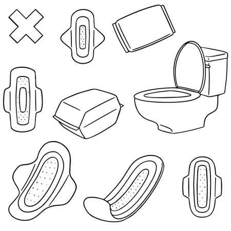 生理用ナプキンのベクトルを設定  イラスト・ベクター素材