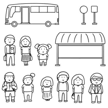 Set of bus stop.