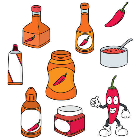 vector set of chilli product Stock Vector - 88635408