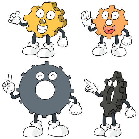 Vector set of gear cartoons. Vectores