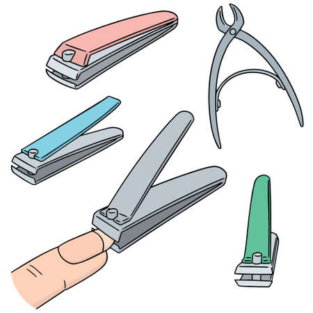 vector set of nail clipper Çizim