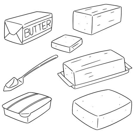 vector set of butter Çizim