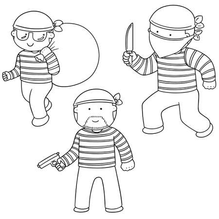 vector set of thief